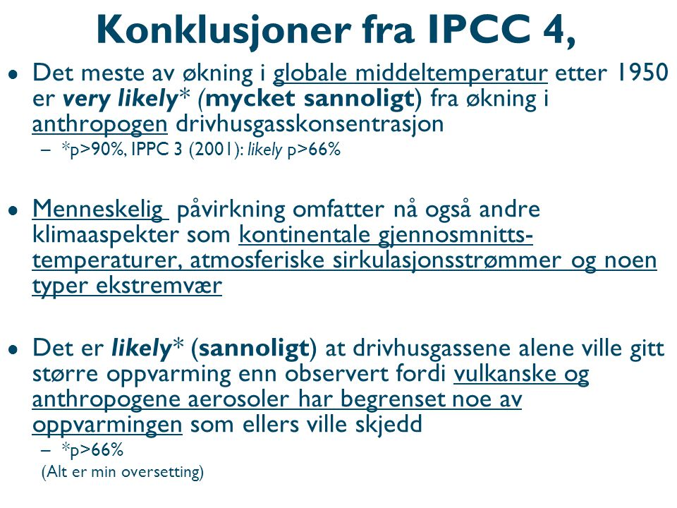 Konklusjoner fra IPCC 4, WG1