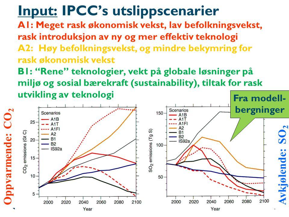 Input: IPCC's utslippscenarier A1: Meget rask økonomisk vekst, lav befolkningsvekst, rask introduksjon av ny og mer effektiv teknologi A2: Høy befolkningsvekst, og mindre bekymring for rask økonomisk vekst B1: Rene teknologier, vekt på globale løsninger på miljø og sosial bærekraft (sustainability), tiltak for rask utvikling av teknologi