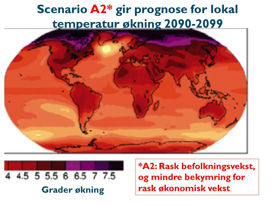 Scenario A2* gir prognose for lokal temperatur økning 2090-2099