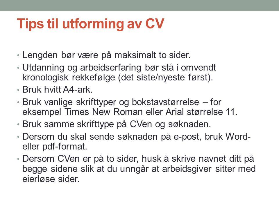Tips til utforming av CV