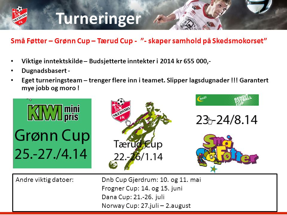 Turneringer Små Føtter – Grønn Cup – Tærud Cup - - skaper samhold på Skedsmokorset