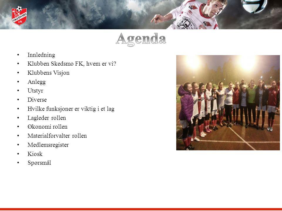 Agenda Innledning Klubben Skedsmo FK, hvem er vi Klubbens Visjon