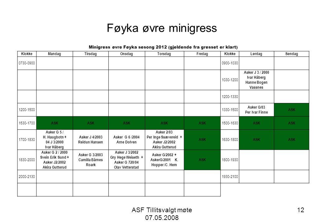 Føyka øvre minigress ASF Tillitsvalgt møte 07.05.2008