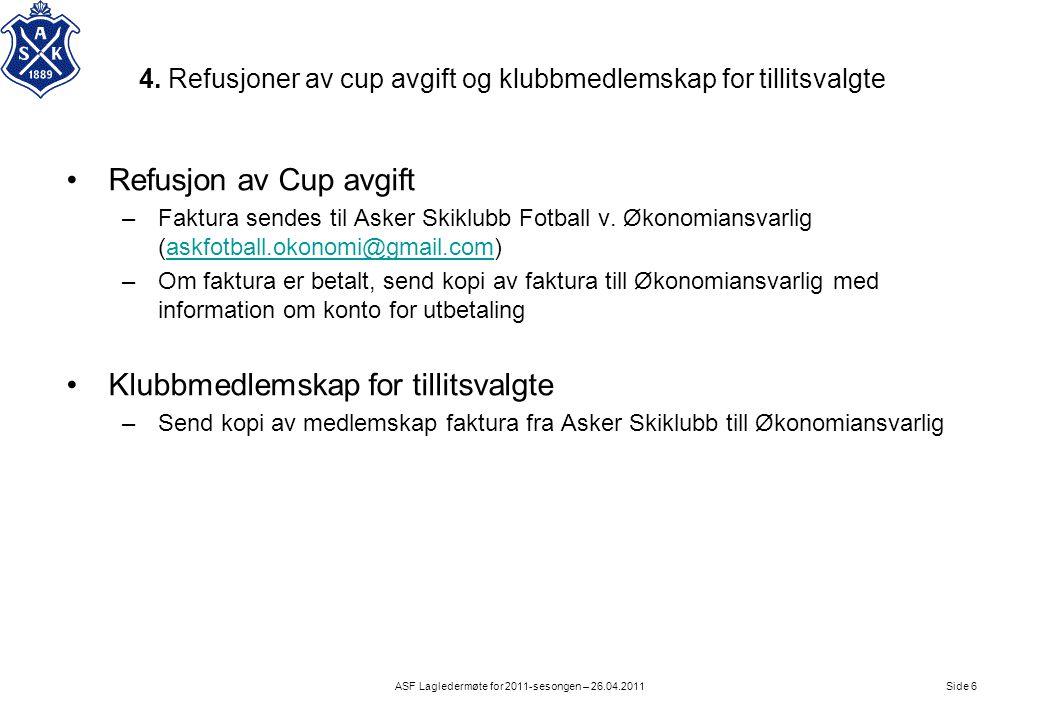 4. Refusjoner av cup avgift og klubbmedlemskap for tillitsvalgte