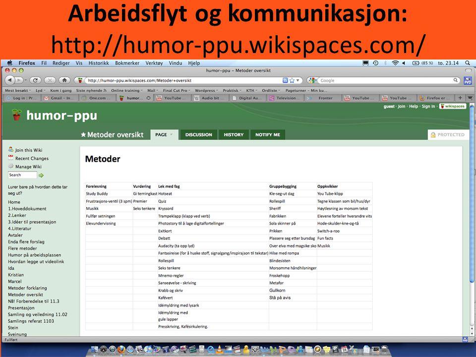 Arbeidsflyt og kommunikasjon: http://humor-ppu.wikispaces.com/