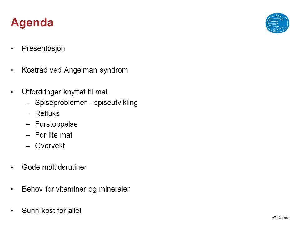 Agenda Presentasjon Kostråd ved Angelman syndrom