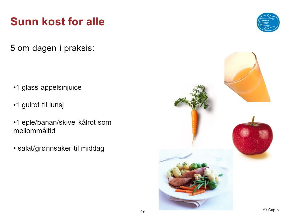 Sunn kost for alle 5 om dagen i praksis: 1 glass appelsinjuice