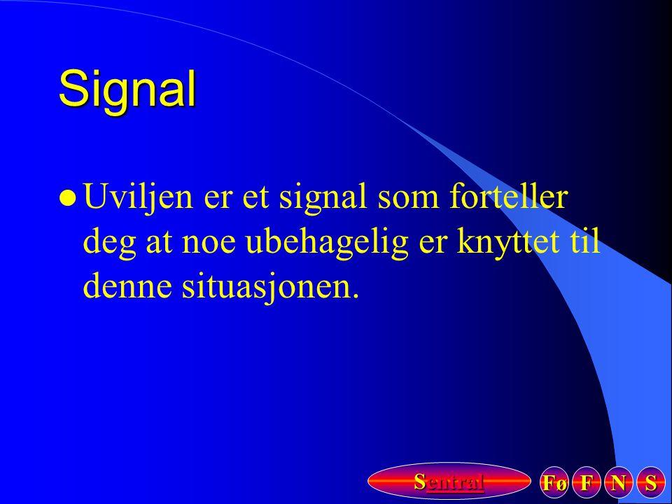 Signal Uviljen er et signal som forteller deg at noe ubehagelig er knyttet til denne situasjonen.