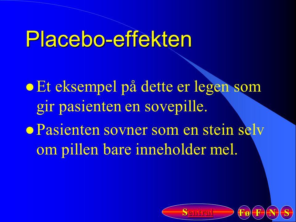 Placebo-effekten Et eksempel på dette er legen som gir pasienten en sovepille.