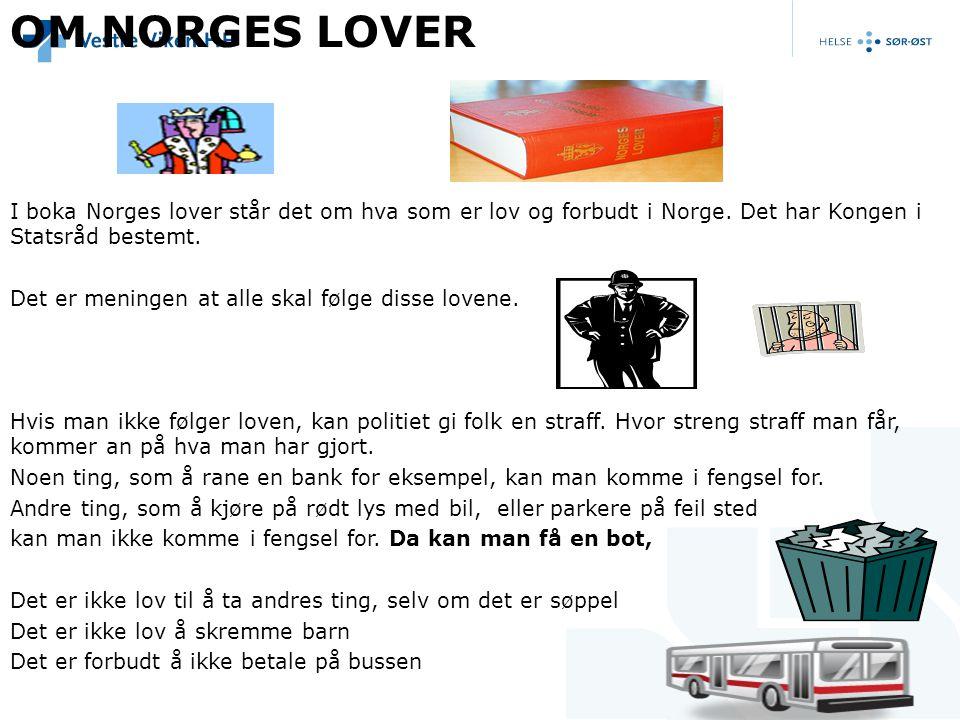 OM NORGES LOVER I boka Norges lover står det om hva som er lov og forbudt i Norge. Det har Kongen i Statsråd bestemt.