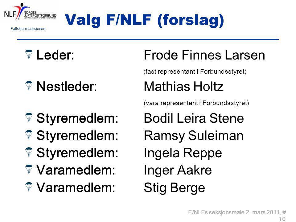 Valg F/NLF (forslag) Leder: Frode Finnes Larsen (fast representant i Forbundsstyret)