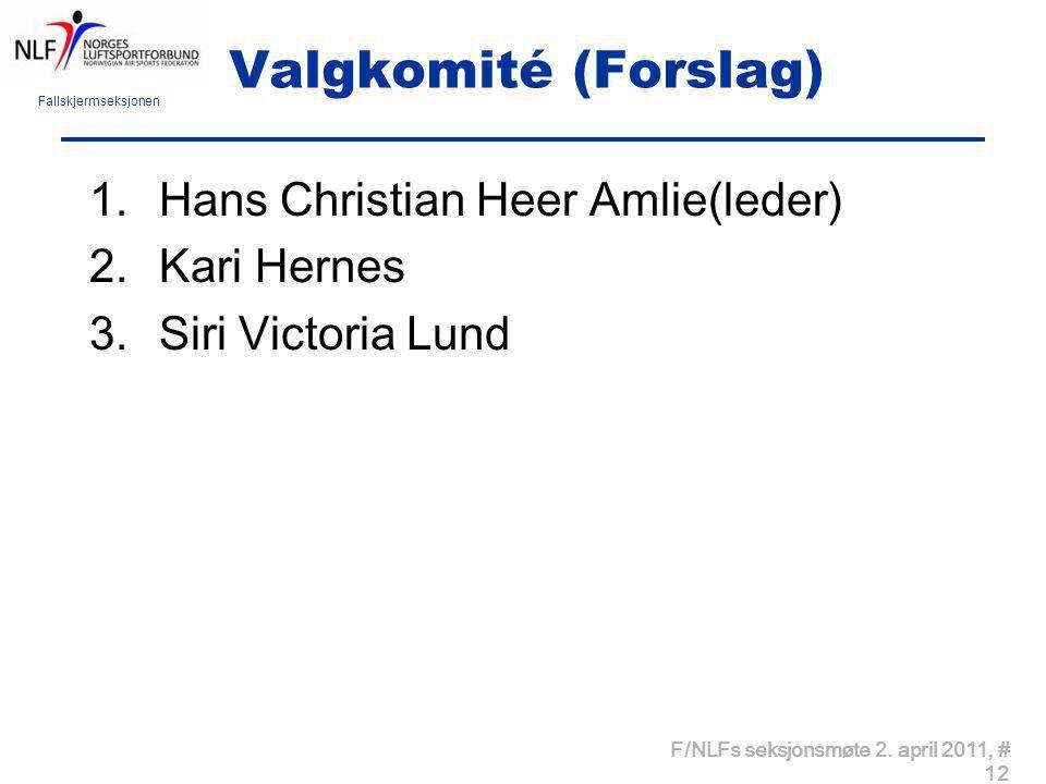 Valgkomité (Forslag) Hans Christian Heer Amlie(leder) Kari Hernes