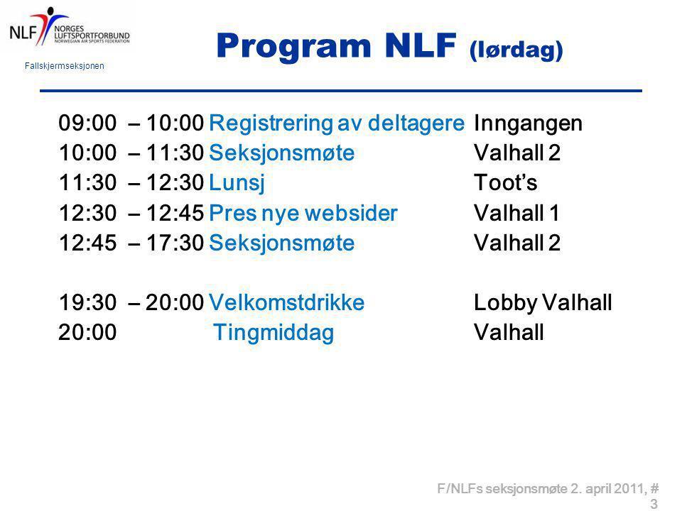 Program NLF (lørdag) 09:00 – 10:00 Registrering av deltagere Inngangen