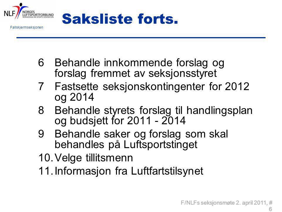 Saksliste forts. Behandle innkommende forslag og forslag fremmet av seksjonsstyret. Fastsette seksjonskontingenter for 2012 og 2014.