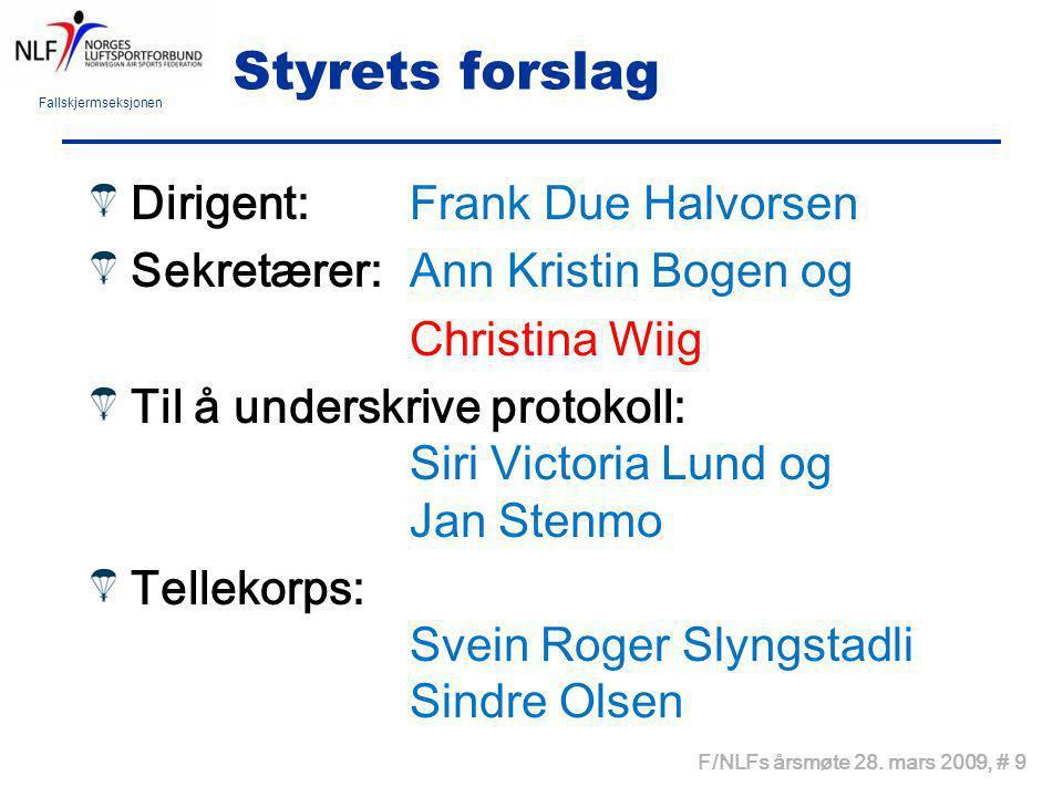 Styrets forslag Dirigent: Frank Due Halvorsen