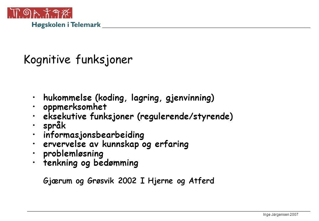 Kognitive funksjoner hukommelse (koding, lagring, gjenvinning)