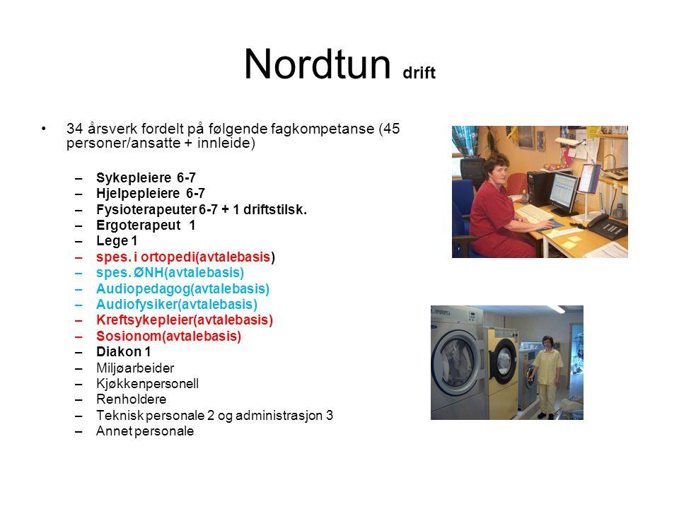 Nordtun drift 34 årsverk fordelt på følgende fagkompetanse (45 personer/ansatte + innleide) Sykepleiere 6-7.