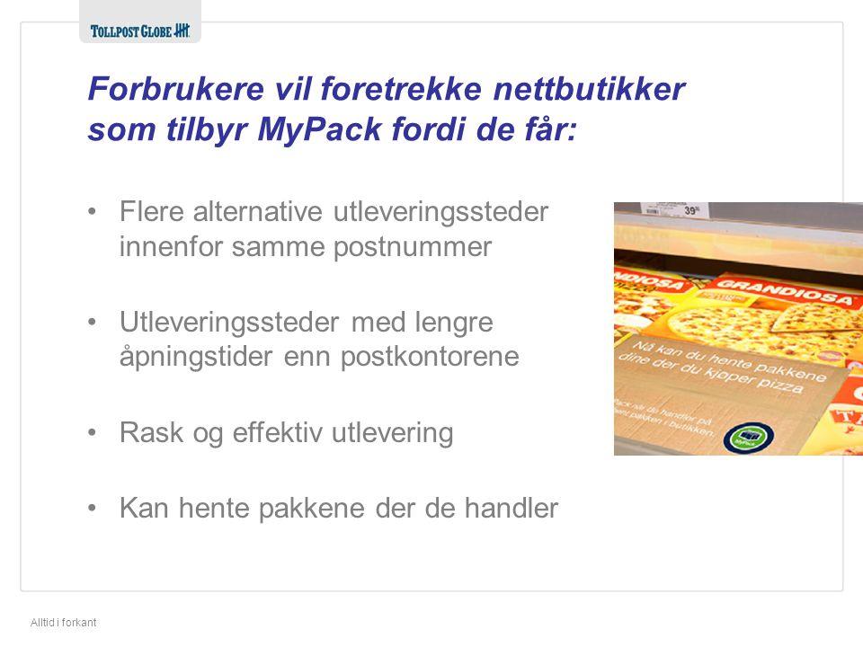 Forbrukere vil foretrekke nettbutikker som tilbyr MyPack fordi de får: