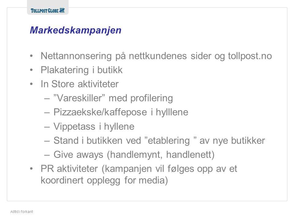 Markedskampanjen Nettannonsering på nettkundenes sider og tollpost.no. Plakatering i butikk. In Store aktiviteter.