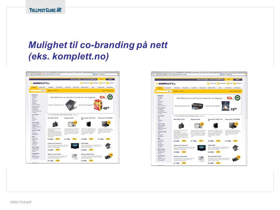Mulighet til co-branding på nett (eks. komplett.no)