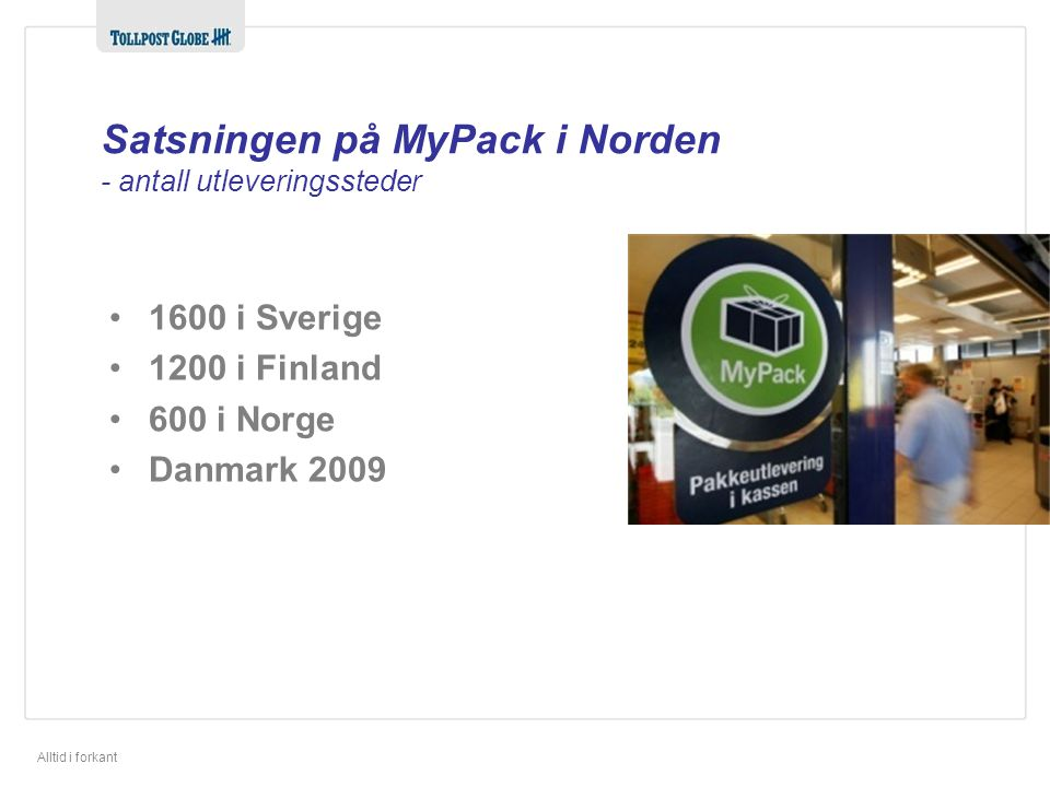 Satsningen på MyPack i Norden - antall utleveringssteder