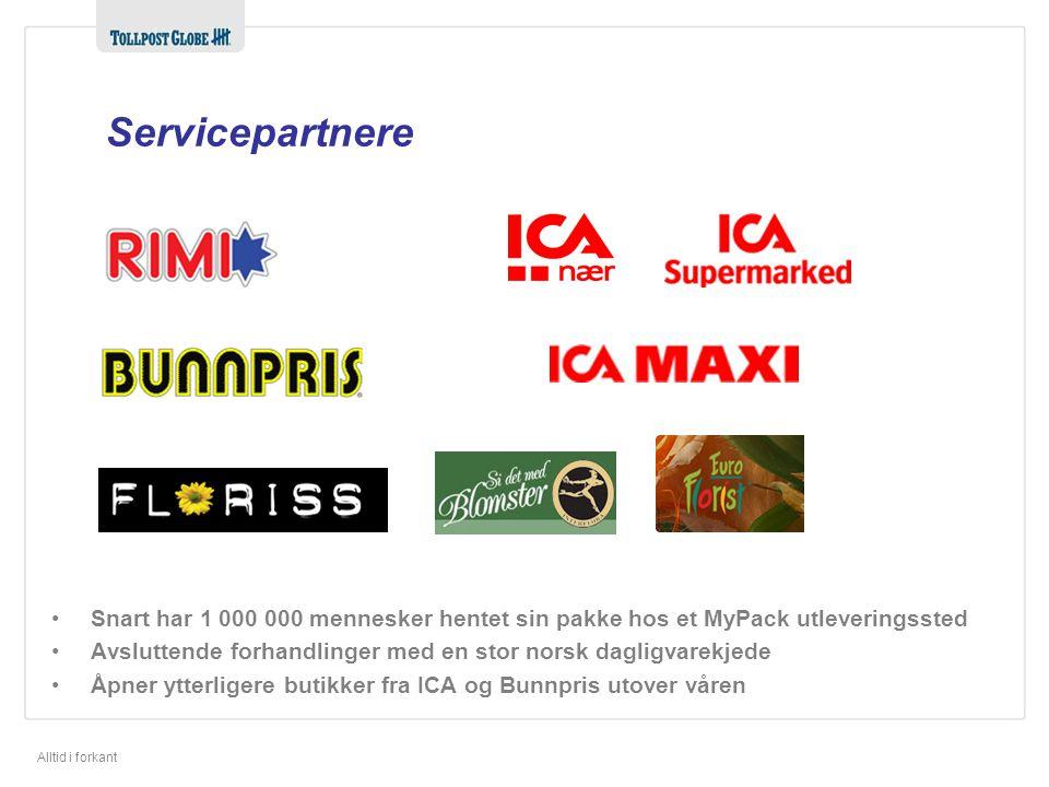 Servicepartnere Ica Maxi = 20. Rimi = Ica Supermarked = Ica Nær = Snart har 1 000 000 mennesker hentet sin pakke hos et MyPack utleveringssted.