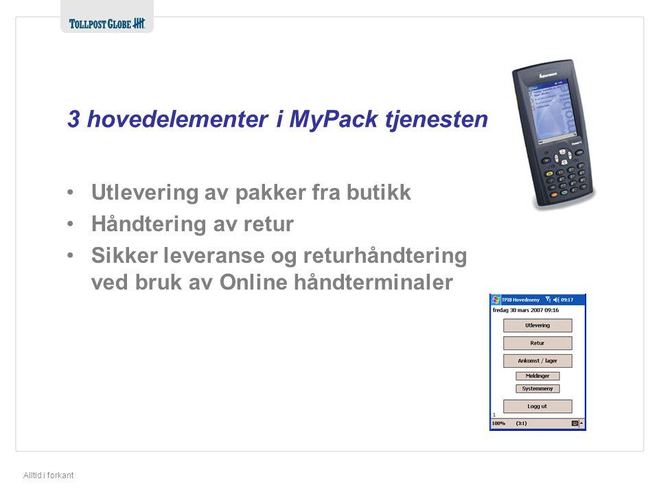 3 hovedelementer i MyPack tjenesten