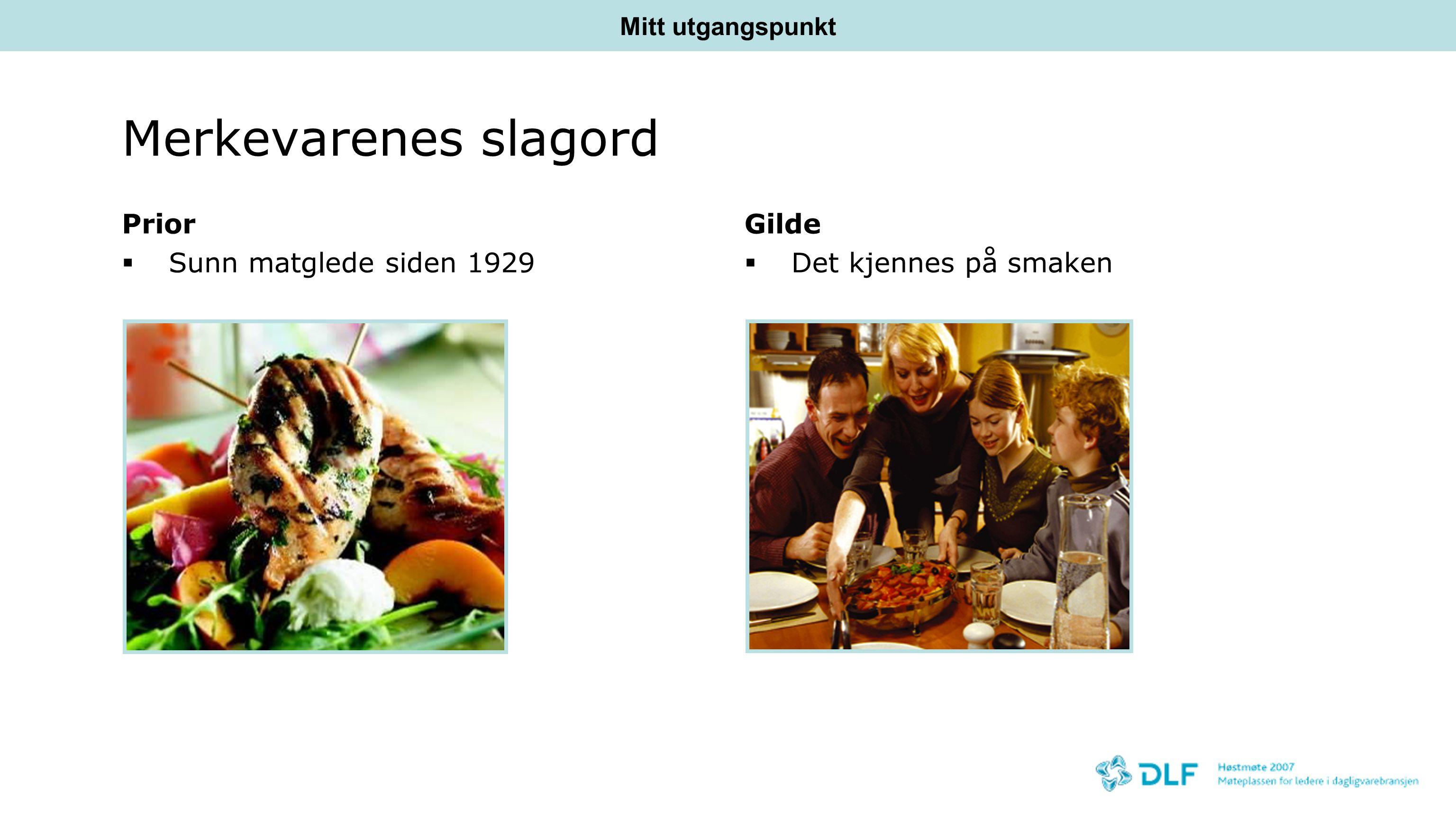 Merkevarenes slagord Prior Sunn matglede siden 1929 Gilde