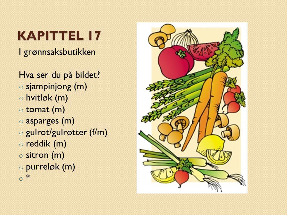 Kapittel 17 I grønnsaksbutikken Hva ser du på bildet sjampinjong (m)