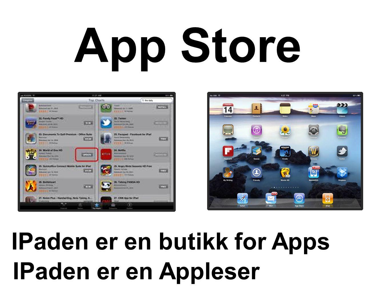 App Store IPaden er en butikk for Apps IPaden er en Appleser