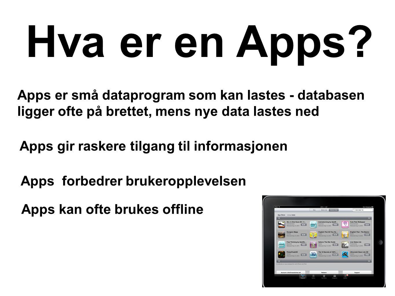 Hva er en Apps Apps er små dataprogram som kan lastes - databasen ligger ofte på brettet, mens nye data lastes ned.