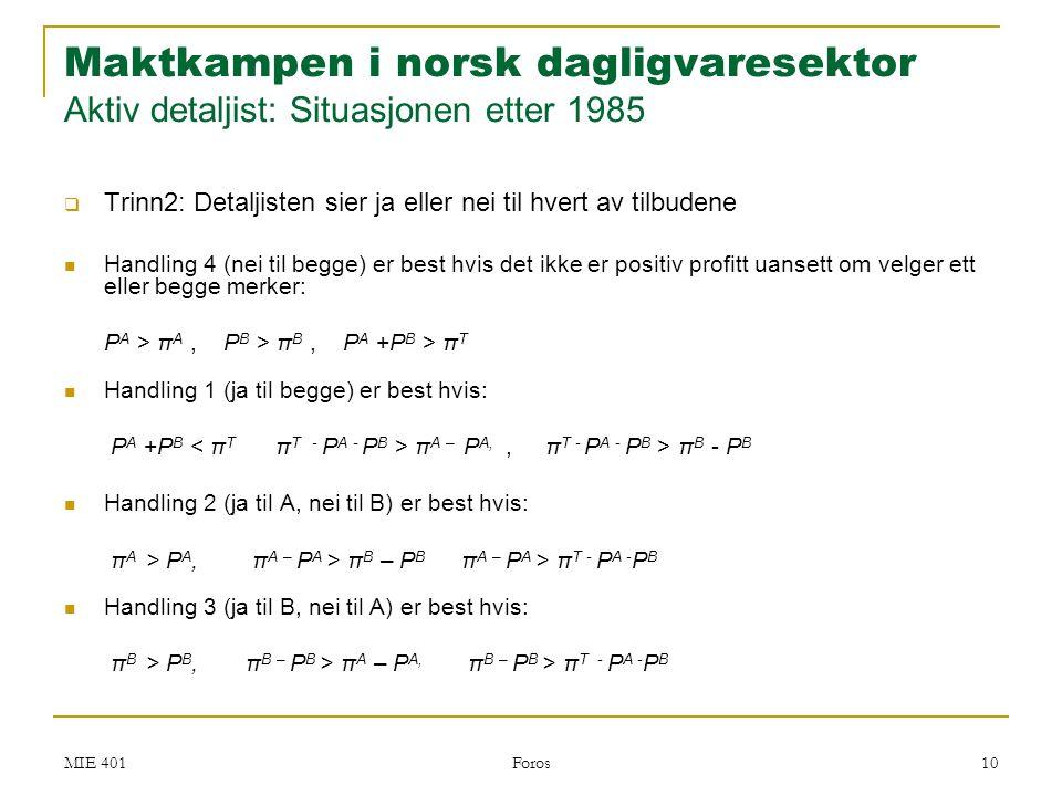 Maktkampen i norsk dagligvaresektor Aktiv detaljist: Situasjonen etter 1985