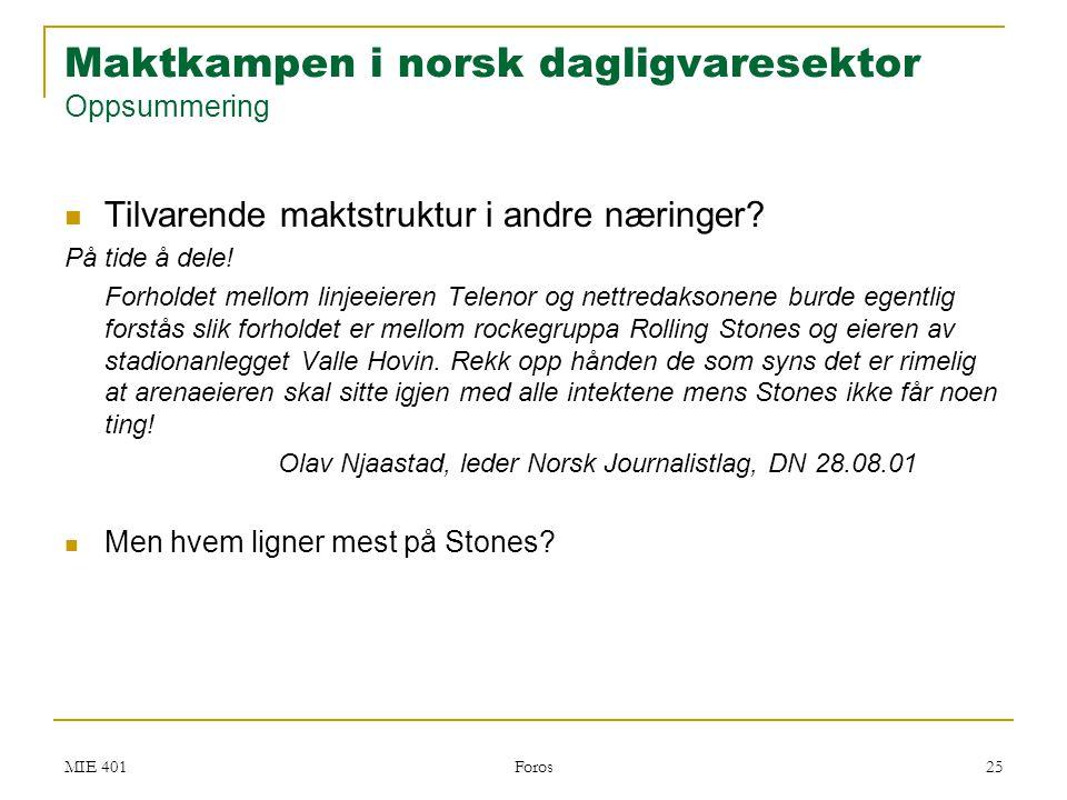 Maktkampen i norsk dagligvaresektor Oppsummering