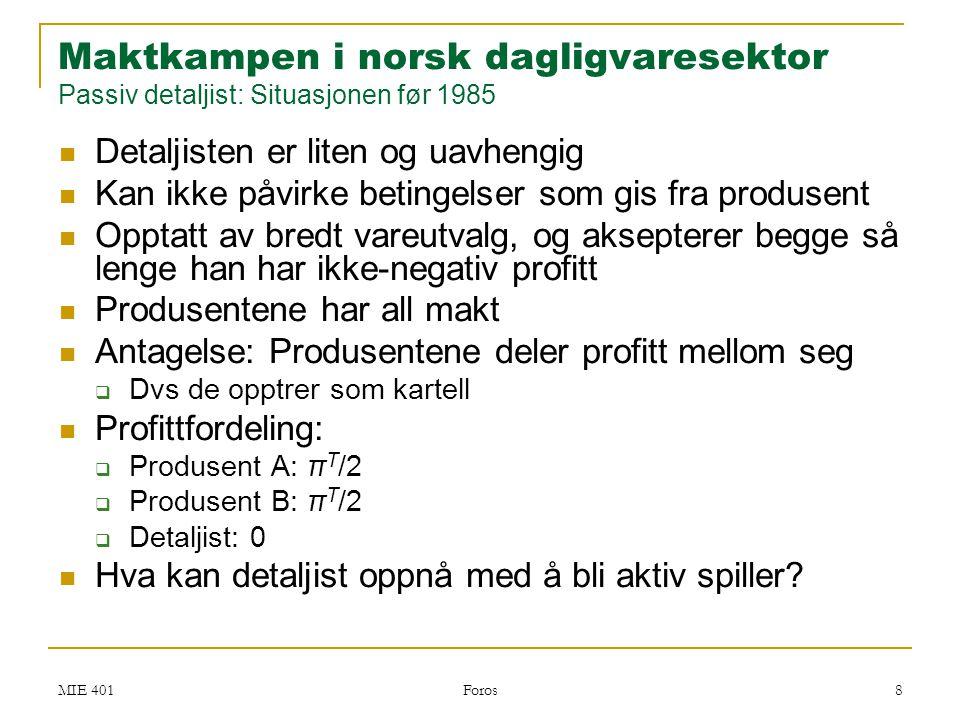 Maktkampen i norsk dagligvaresektor Passiv detaljist: Situasjonen før 1985