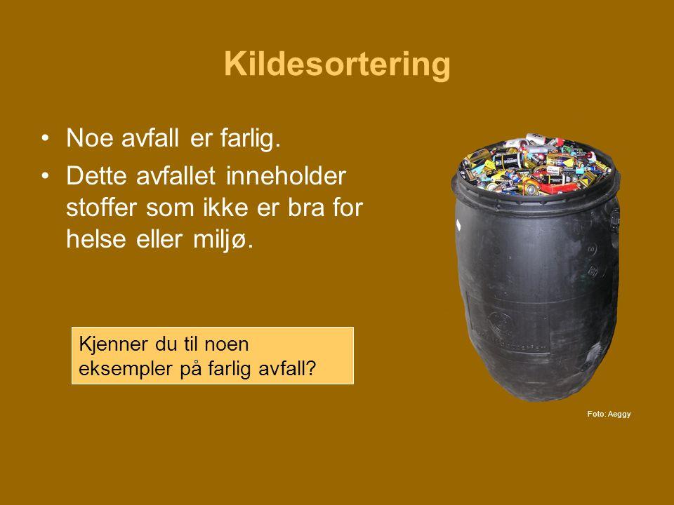 Kildesortering Noe avfall er farlig.