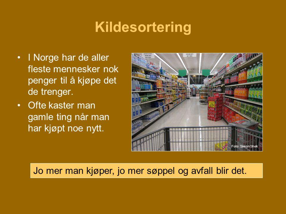 Kildesortering I Norge har de aller fleste mennesker nok penger til å kjøpe det de trenger. Ofte kaster man gamle ting når man har kjøpt noe nytt.