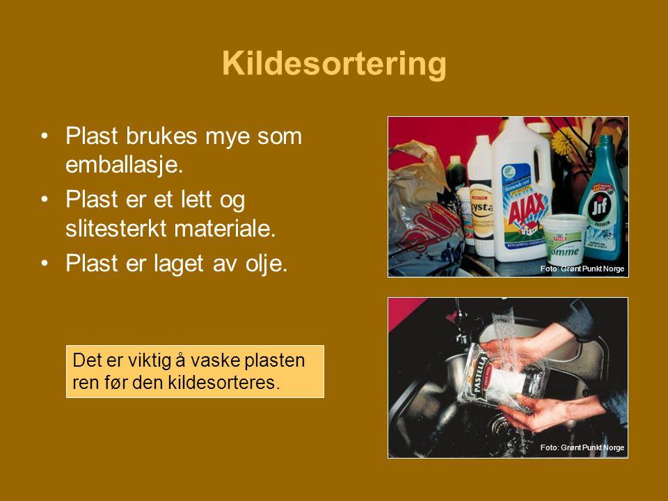 Kildesortering Plast brukes mye som emballasje.