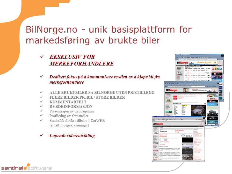 BilNorge.no - unik basisplattform for markedsføring av brukte biler