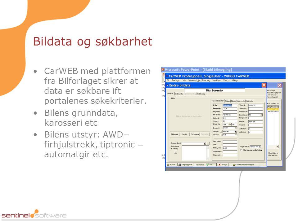 Bildata og søkbarhet CarWEB med plattformen fra Bilforlaget sikrer at data er søkbare ift portalenes søkekriterier.