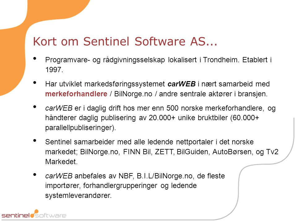 Kort om Sentinel Software AS...
