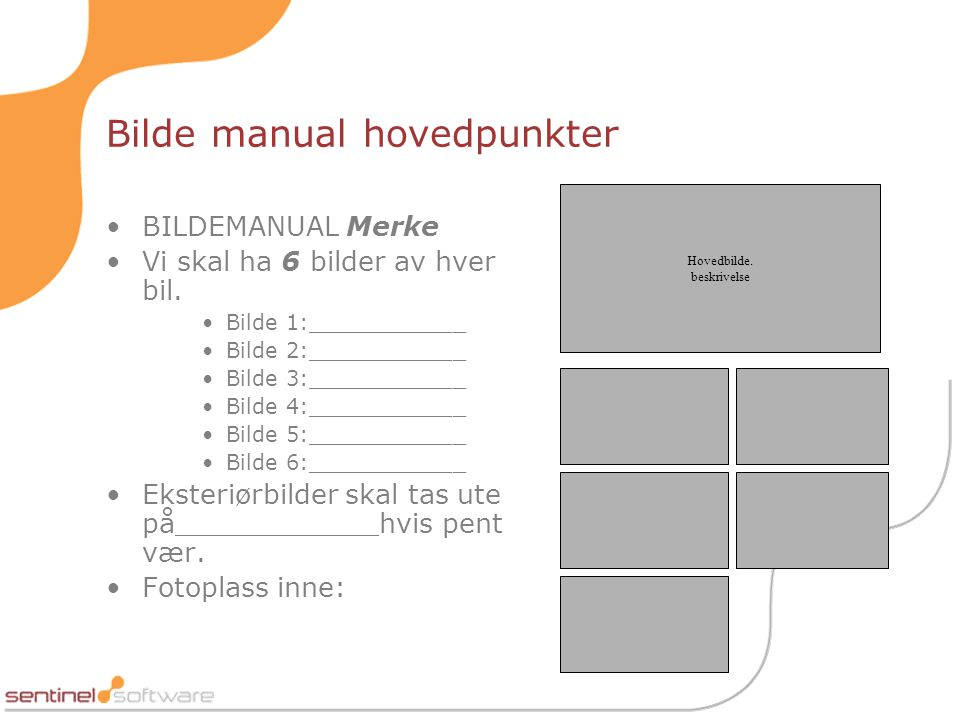 Bilde manual hovedpunkter