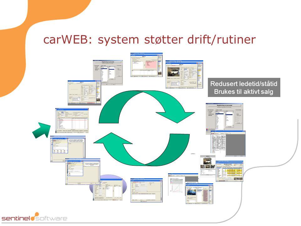 carWEB: system støtter drift/rutiner