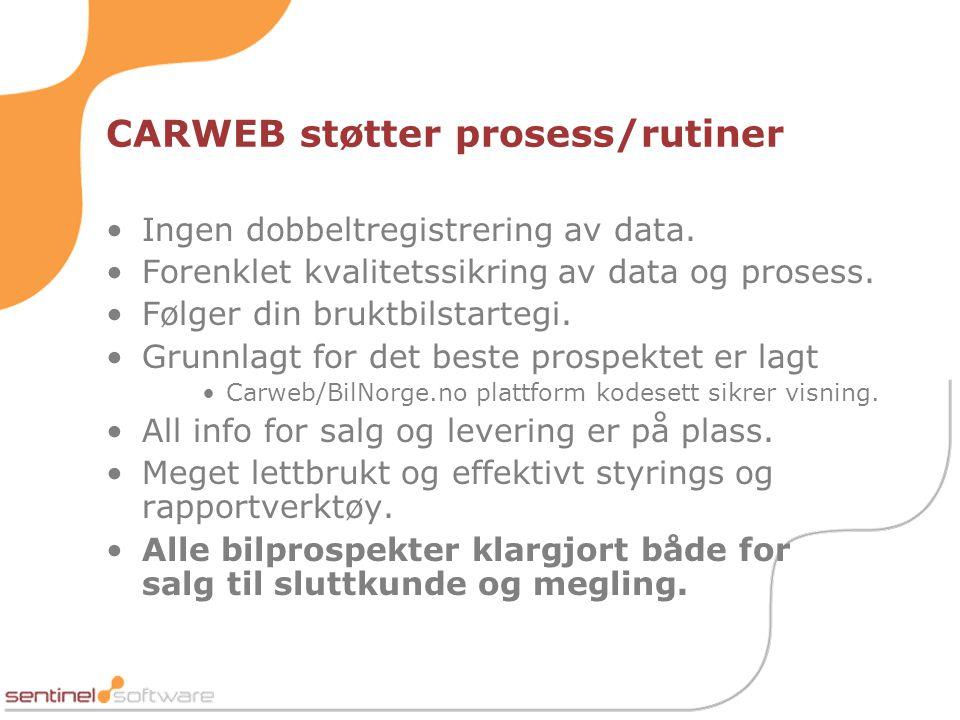 CARWEB støtter prosess/rutiner