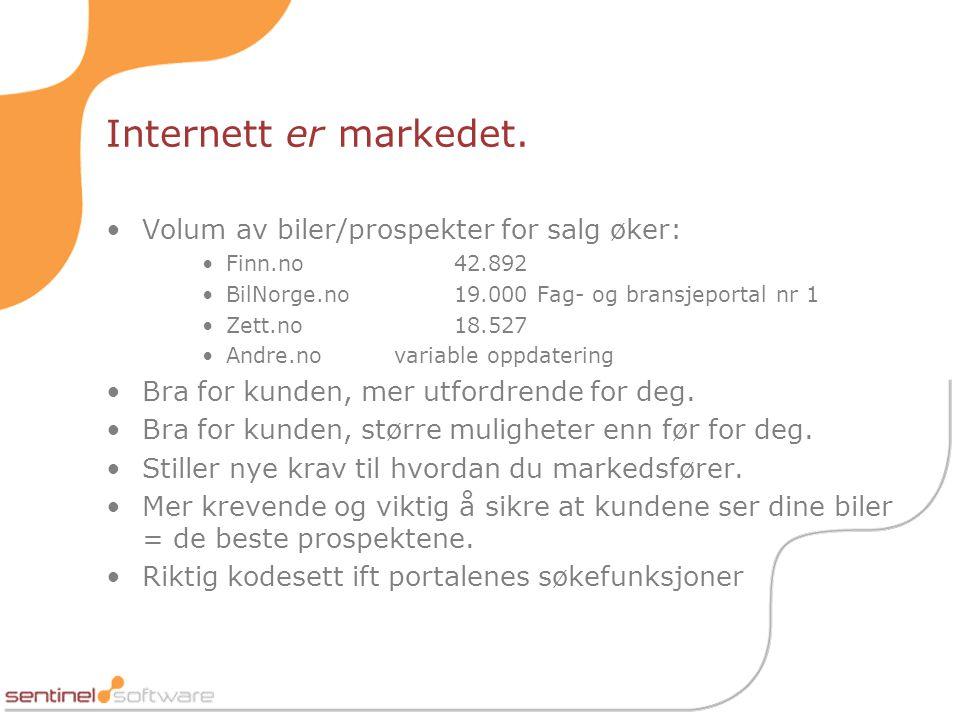 Internett er markedet. Volum av biler/prospekter for salg øker: