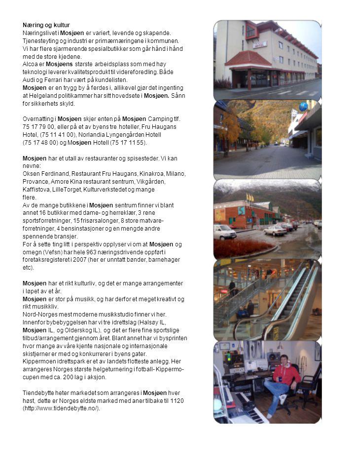 Næring og kultur Næringslivet i Mosjøen er variert, levende og skapende. Tjenesteyting og industri er primærnæringene i kommunen.