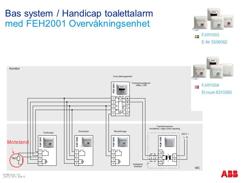 Bas system / Handicap toalettalarm med FEH2001 Overvåkningsenhet