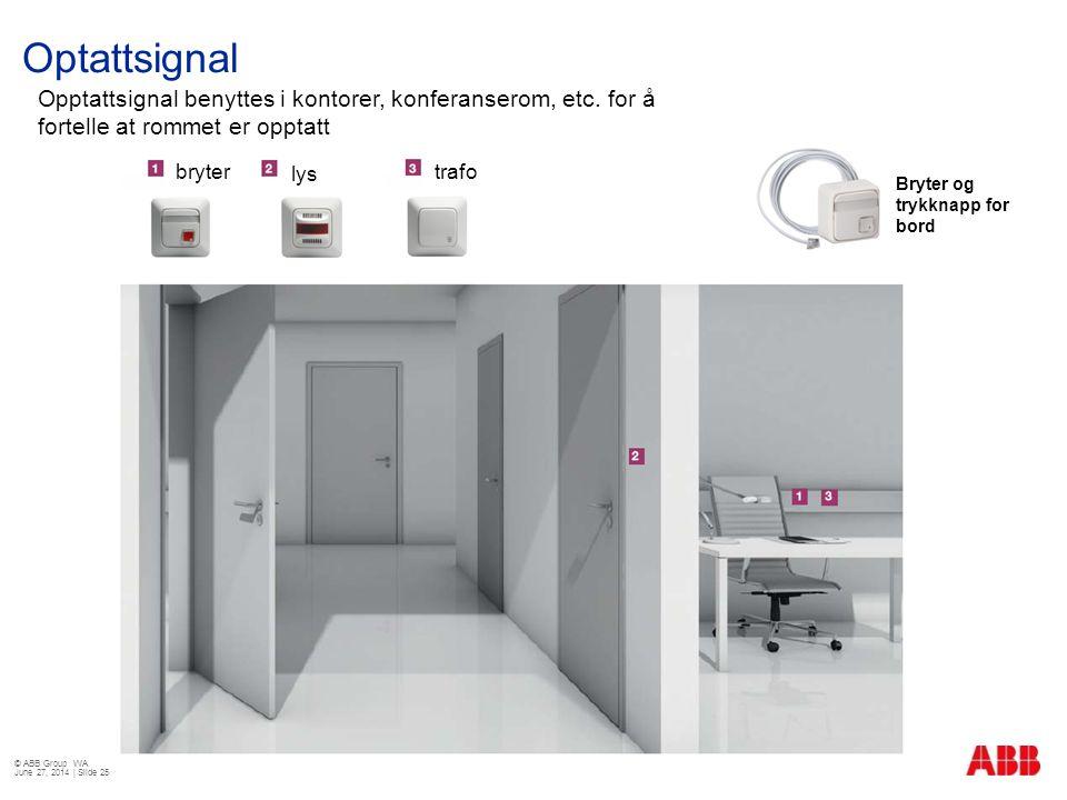 Optattsignal Opptattsignal benyttes i kontorer, konferanserom, etc. for å fortelle at rommet er opptatt.