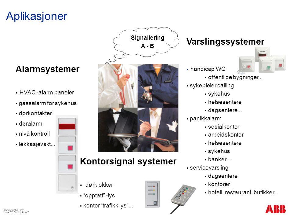 Aplikasjoner Varslingssystemer Alarmsystemer Kontorsignal systemer
