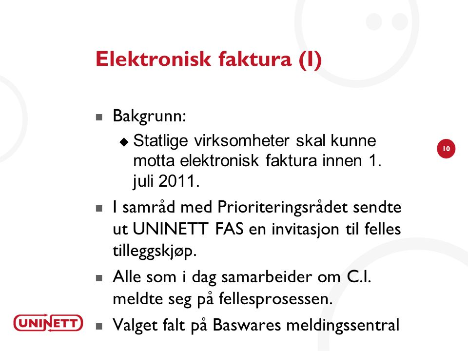 Elektronisk faktura (I)
