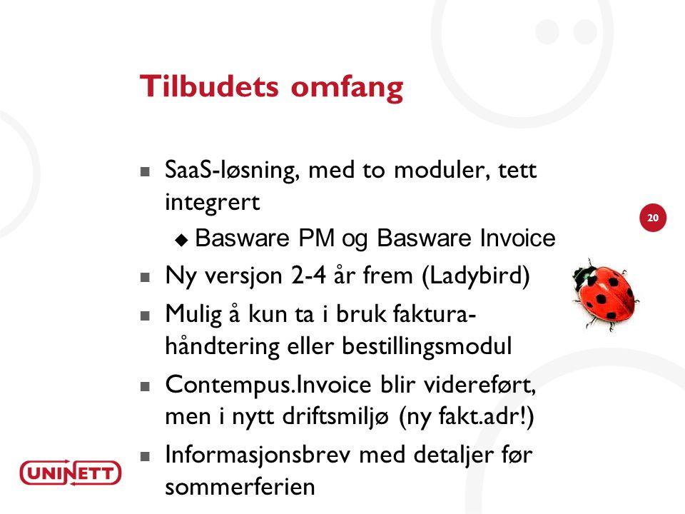 Tilbudets omfang SaaS-løsning, med to moduler, tett integrert